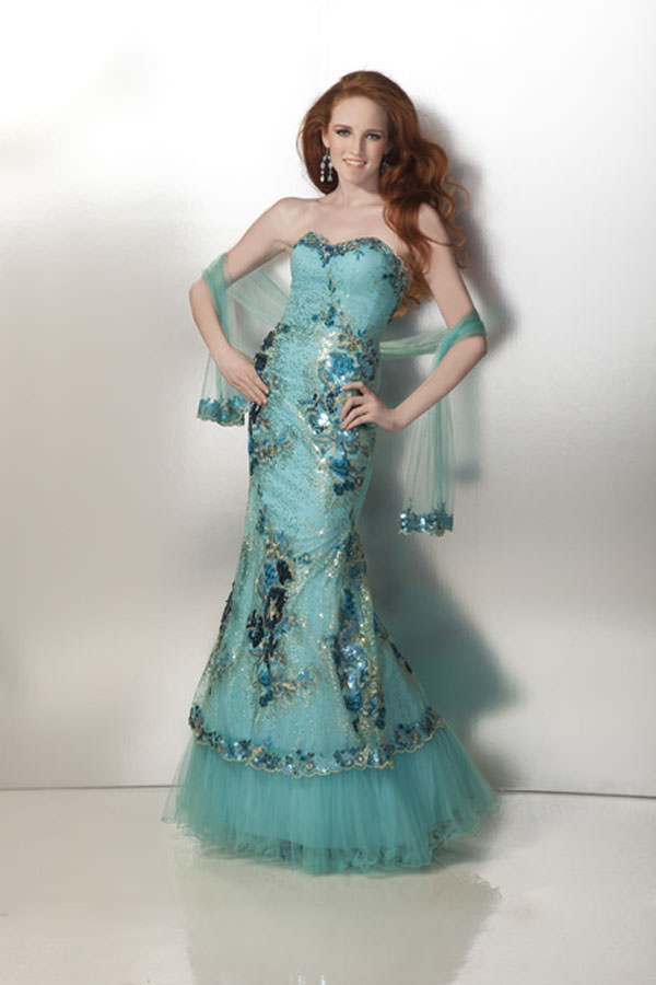 Clarisse 2012 Aqua and Blue Long Mermaid Gown Prom Dress 17180