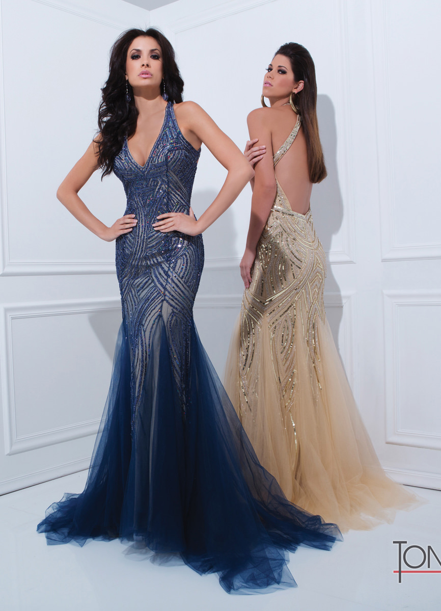Tony Bowls 2014 Navy Blue Champagne Silver Halter Beaded Meremaid ...