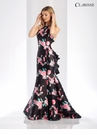 Floral Ruffle Mermaid Prom Dress 3421