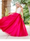 Fuchsia and Ivory Crochet Lace Ball Gown 3507