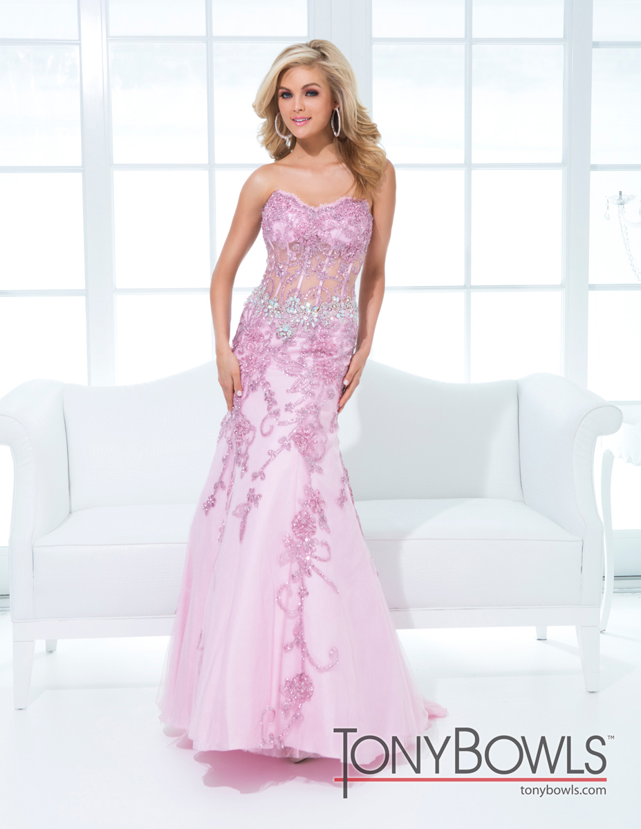Tony Bowls 2014 Pink Purple Lace Strapless Prom Gown 114734 ...