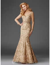 Gold Embroidered Mermaid Evening Gown M6430