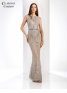 Gray and Nude Evening Gown 4916