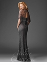 Gray Lace Capelet evening Gown M6435