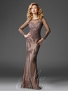 Gray Long Sleeve Soutache Evening Gown M6425