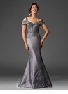Gray Off the Shoulder Mermaid Gown M6420