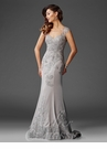 Gray Satin and Lace Evening Gown M6421