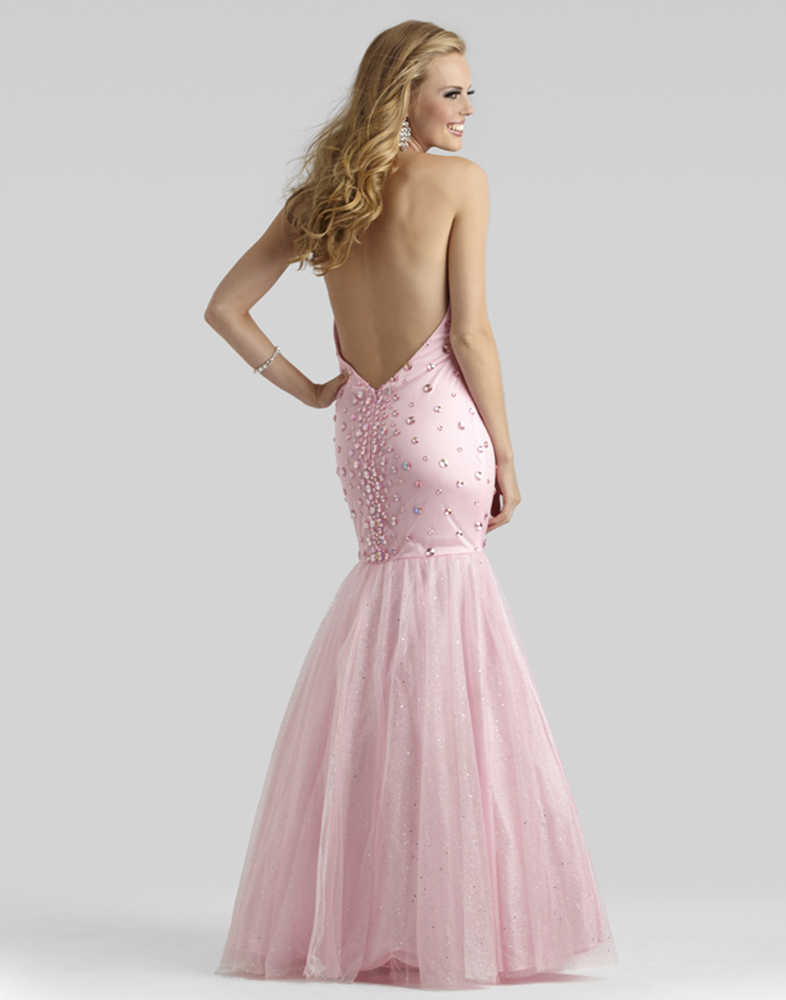 Clarisse 2014 Light Pink Halter Beaded Mermaid Prom Gown 2333 ...