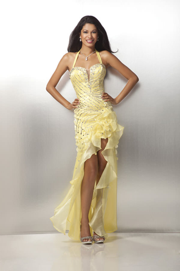 yellow strapless 2012 prom dress 17154 with beaded top