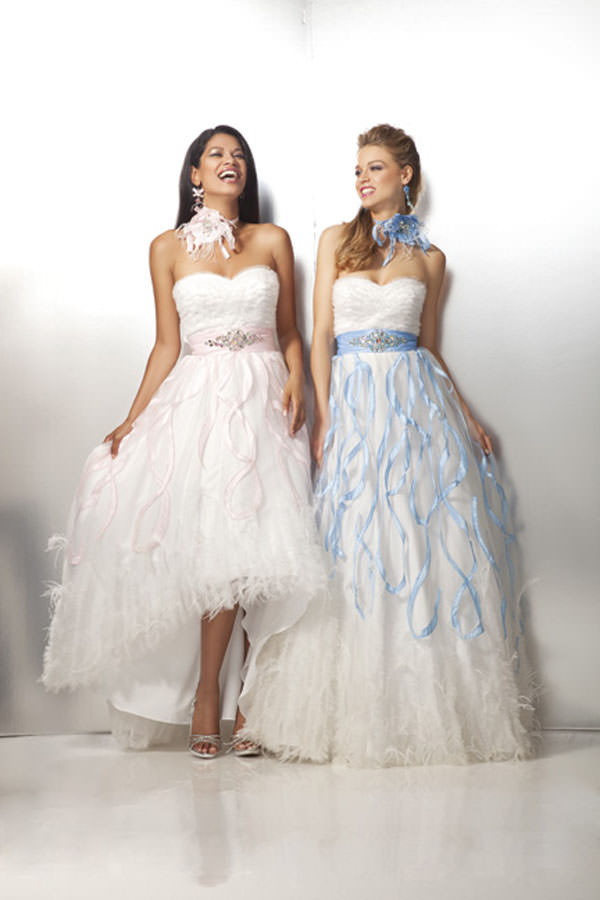 High Low White Pink Prom Dress 17123