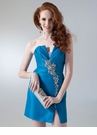 Turquoise Pleated Homecoming Dress 1664