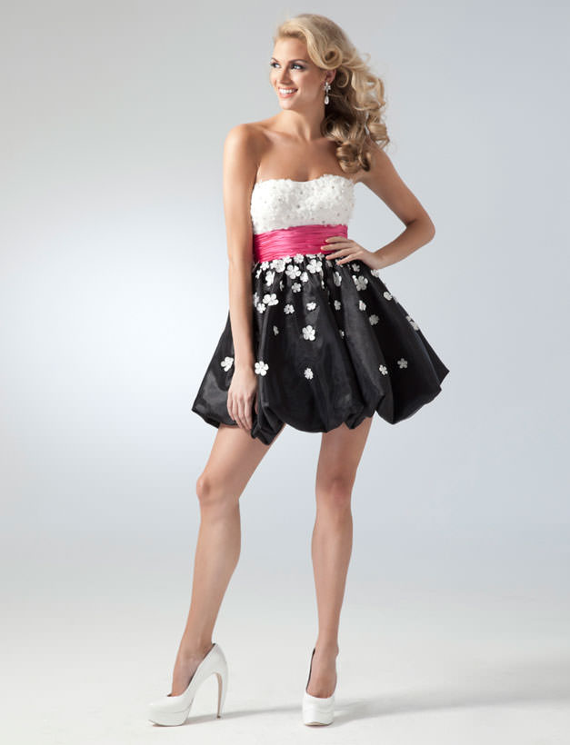 2011 Homecoming Dresses Black And White Party Dress 1672