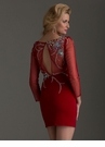 Long Sleeve Garnet Homecoming Dress 2488