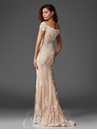 Ivory and Champagne Lace Evening Gown M6417