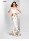 Ivory Print Two Piece Prom Dress 3562