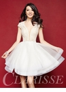 Ivory Tiered Skirt Homecoming Dress 3362