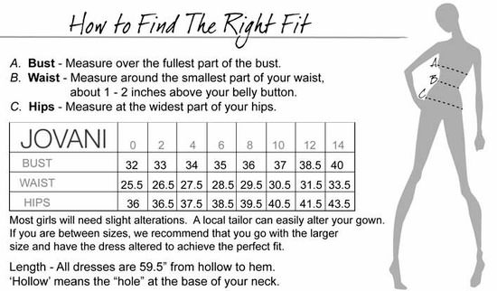 Jovani Size Chart For Prom Dresses And Gowns