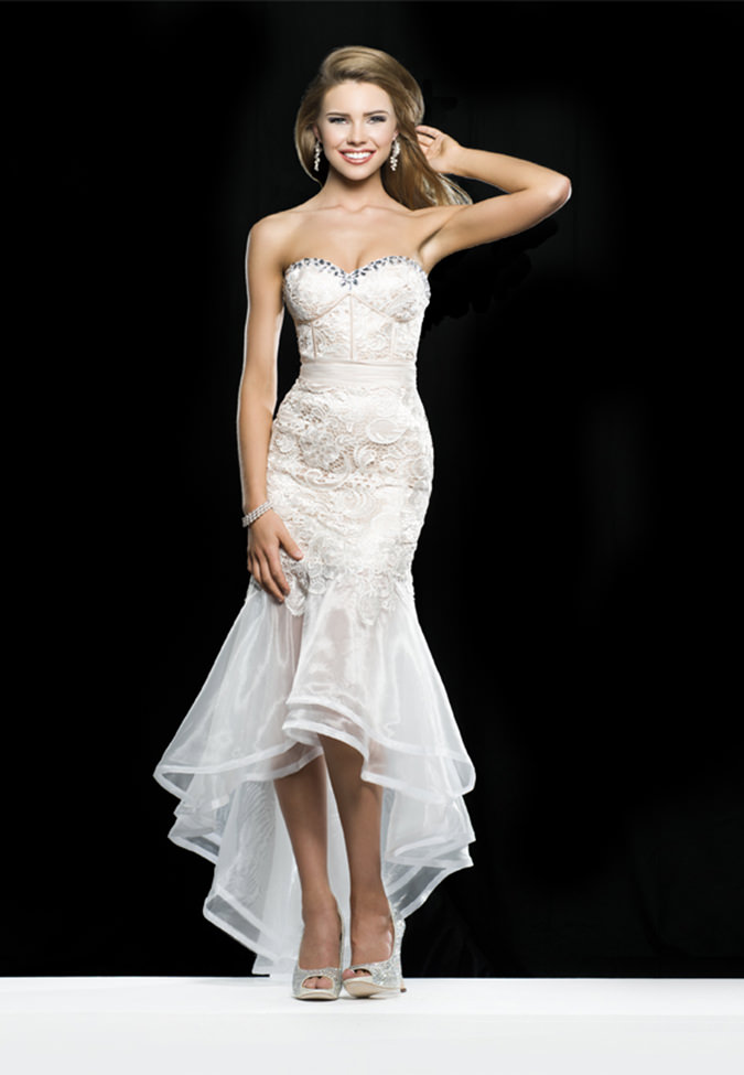 Clarisse 2014 Ivory Nude Strapless Sweetheart Lace and Organza ...