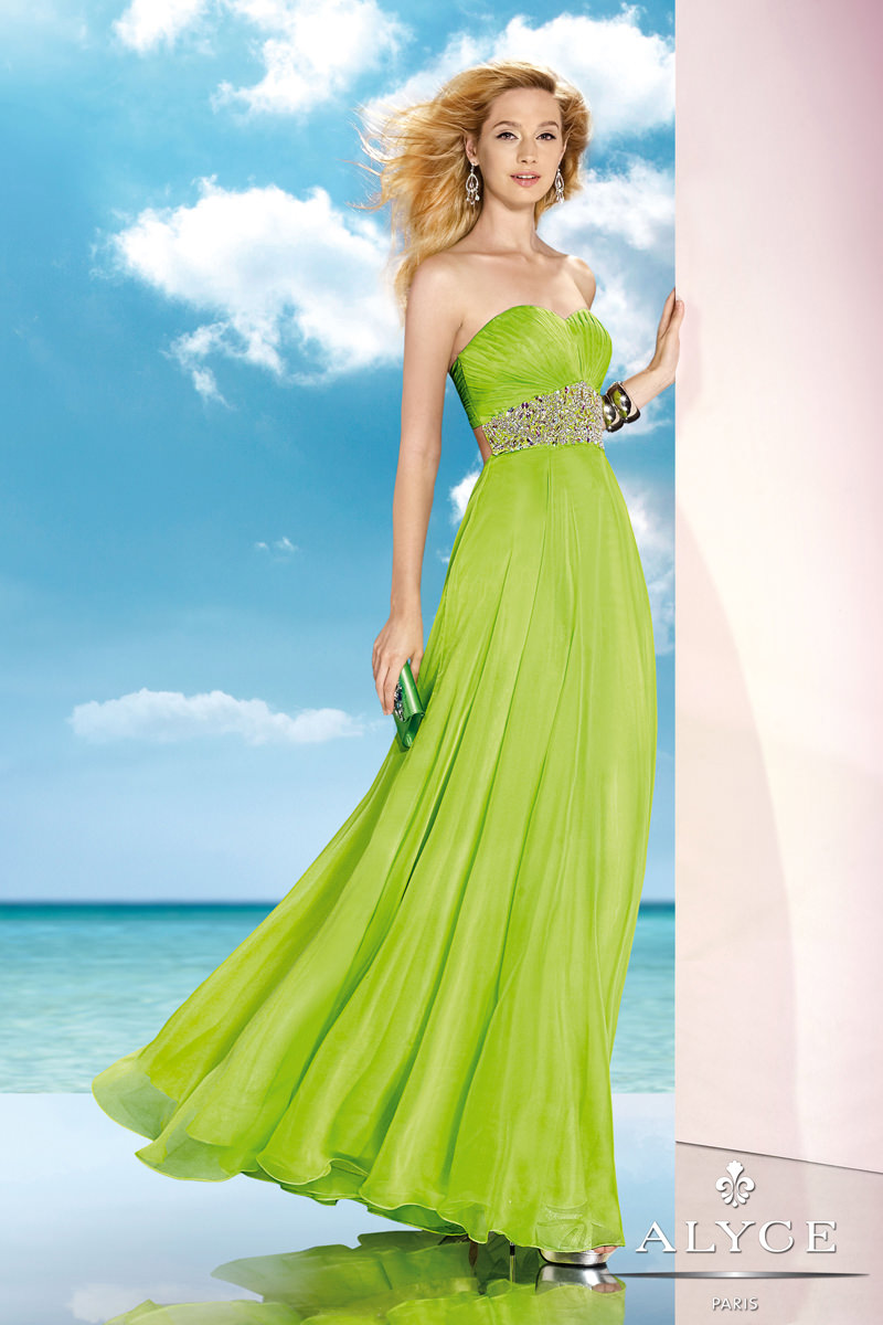 Alyce 2014 Lime Strapless Sweetheart Beaded Long Prom Dress 35590 ...