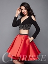 Long Sleeve Two Piece Homecoming Dress 3326
