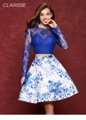 Long Sleeved Floral Two Piece Homecoming Dress 3638