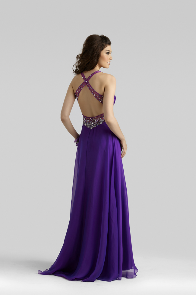 Clarisse 2014 Purple Iridescent Chiffon Beaded Flowy A-Line Prom ...