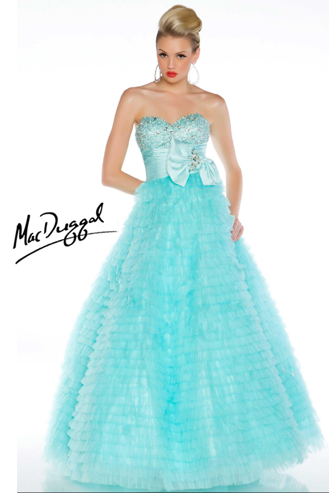 Mac Duggal Prom Dress 4759 - Ice blue strapless ball gown | Promgirl.net