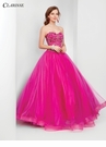 Magenta Strapless Ball Gown 3551