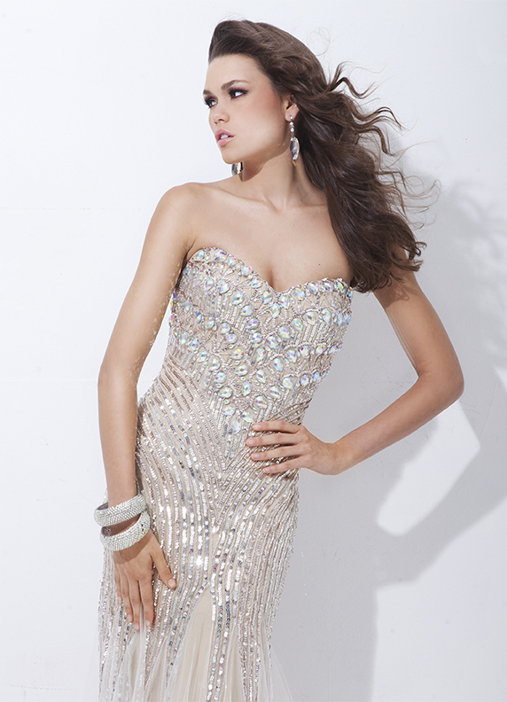 Tony Bowls 2014 Coral Ivory Nude Strapless Sweetheart Sequin Mermaid ...