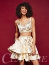 Metallic Gold Two Piece Homecoming Dress 3309