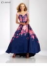 Navy and Pink Floral High Low Dress 3569