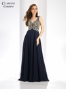 Navy Beaded A-line Prom Dress 4924