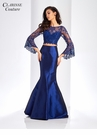 Navy Bell Sleeve Mermaid Prom Dress 4971