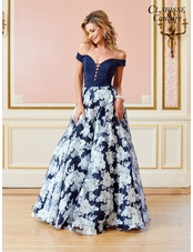 Navy Floral Print Prom Dress 4966