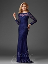 Navy Lace Long Sleeve Evening Gown M6443