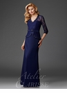 Navy Lace Peplum Evening Gown M6444