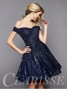 Navy Off The Shoulder Short Formal Dress 3345