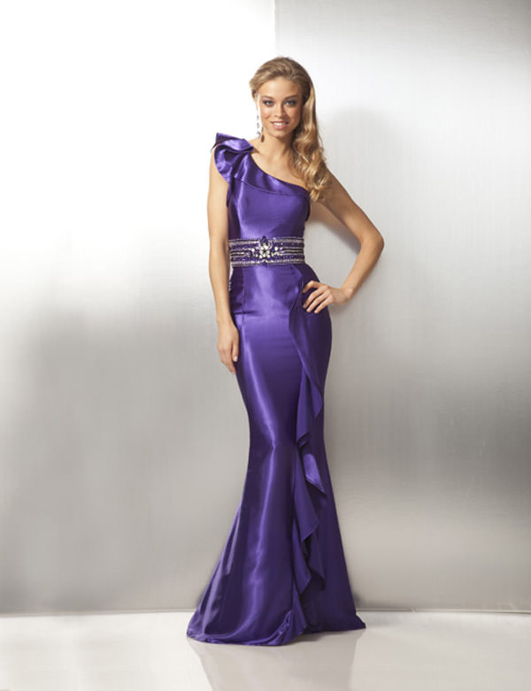 One Shoulder Purple or White Prom Dress 17108
