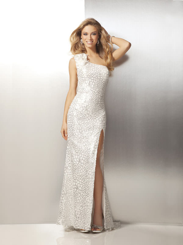 One Shoulder White ans Silver Sequins Prom Dress 17111