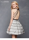 Open Back Striped Homecoming Dress 3632| 2 colors!