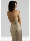 Glam Gold Sequin Halter Gown 2409