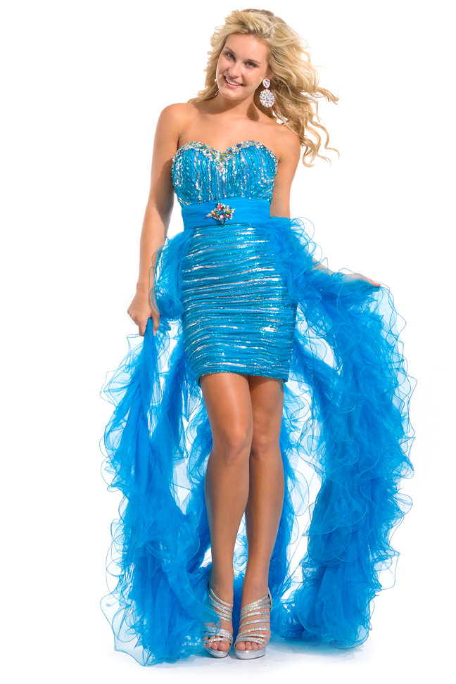 Party Time Formals 2013 Turquoise Strapless Sweetehart High Low ...