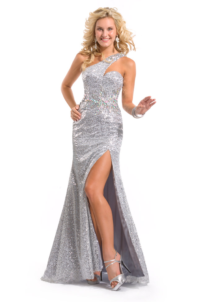 Party Time Formals 2013 Silver One Shoulder Sequin Open Back Beaded ...