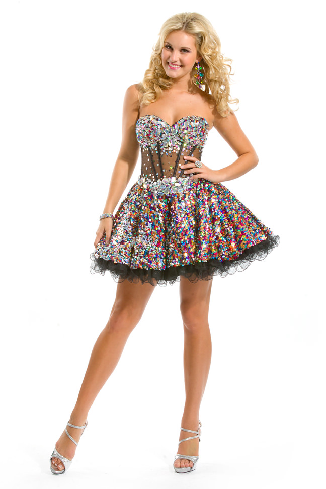 Party Time Formals 2013 Black Multi Color Sequin Beaded Corset Sheer ...