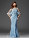 Periwinkle Lace Capelet Evening Gown M6445