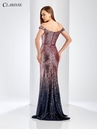 Pink and Navy Sequin Ombre Prom Dress 3586
