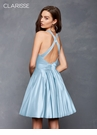Powder Blue Halter Satin Homecoming Dress s3489