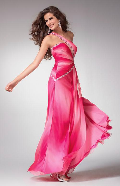 Clarisse prom dress 1527 - Pink ombre one shoulder formal dress ...