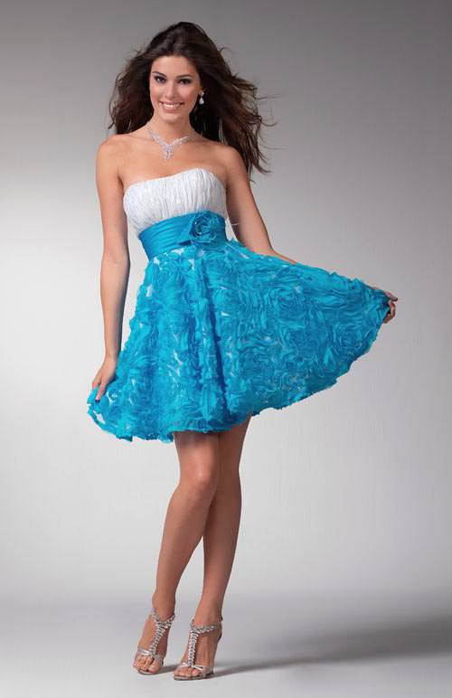 Prom dress 1537 | Prom dress 2011 | White and blue short dress