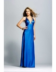 Royal Blue Charmeuse Halter Prom Dress 875